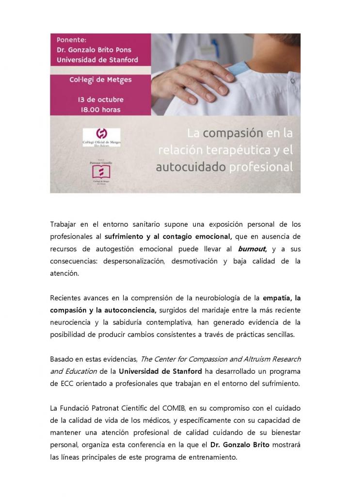 Palma de Mallorca - Conferencia: La compasión en la relación terapéutica y el autocuidado profesional @ : Il·ltre. Col·legi Oficial de Metges de les Illes Balears.
